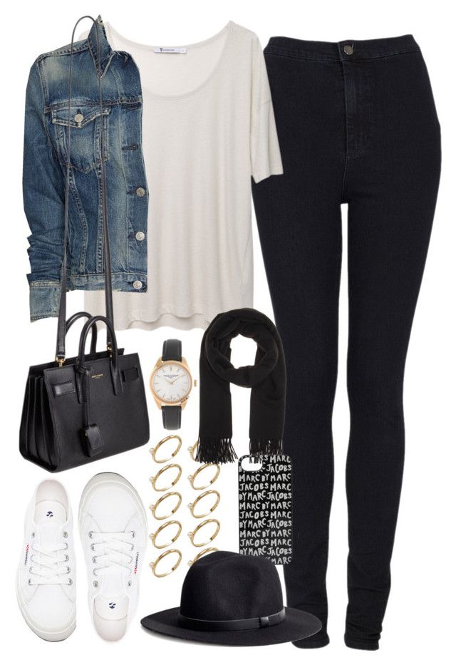 """""""outfit for college"""" by im-emma ❤ liked on Polyvore featuring Topshop, T By Alexander Wang, rag & bone/JEAN, Yves Saint Laurent, Superga, J.Crew, ASOS, Acne Studios, Marc by Marc Jacobs and H&M"""