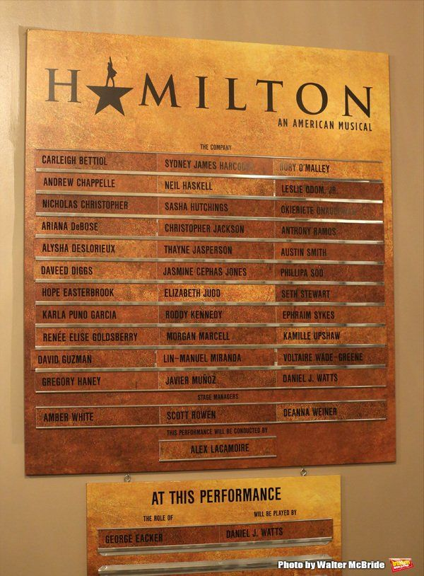 Lobby Cast Board- Photo Coverage: Lin-Manuel Miranda, Leslie Odom Jr. and Phillipa Soo Take Final Bows in HAMILTON!