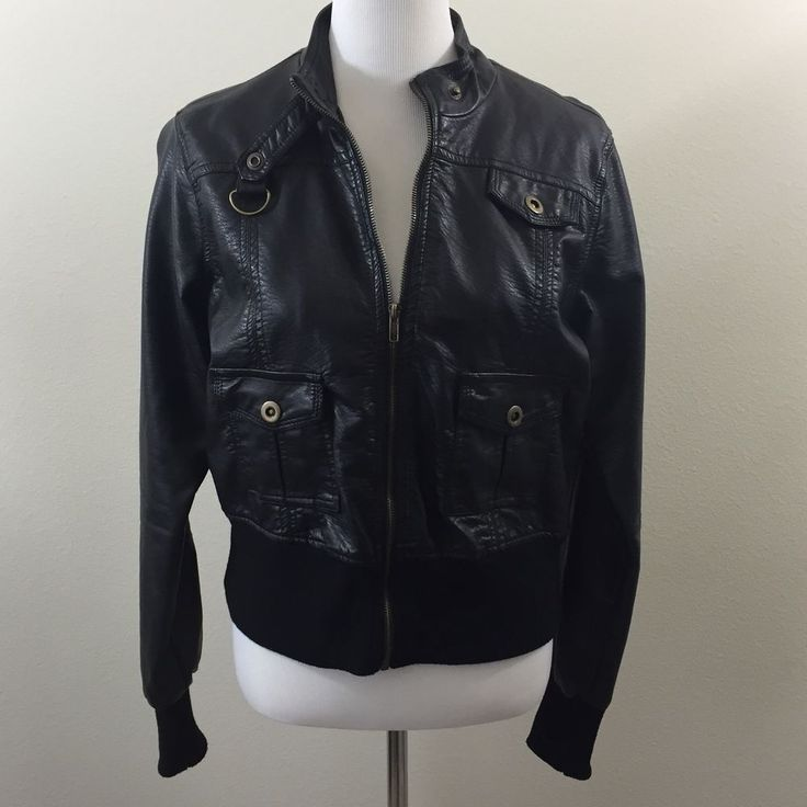 Black Bomber Pleather Zip-up Jacket Size XL EUC #black #bomber #pleather #fashion #jacket #ebay #fashion #smallbusiness