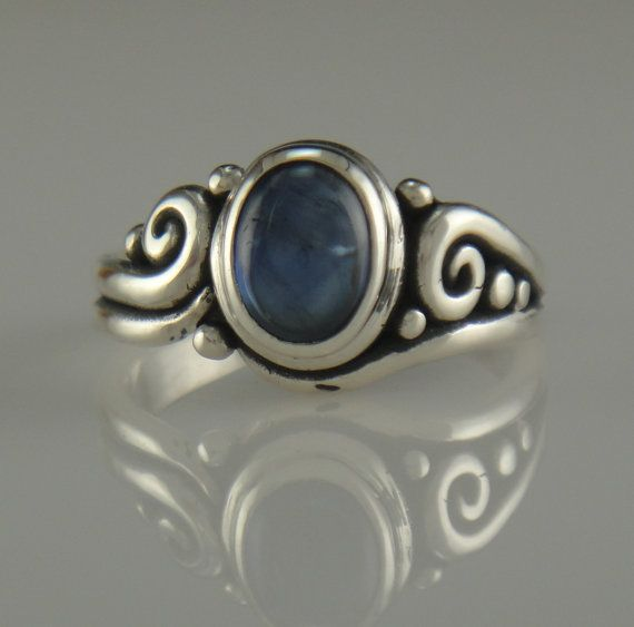 Sterling Silver Blue Sapphire Cabochon Ring by DenimAndDiaJewelry, $280.00