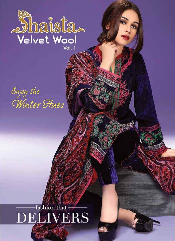 c74879eb4a Shaista Winter Velvet Wool Dresses 2016 Volume 1 (6) | women Dresses |  Dresses, Wool dress, Fashion