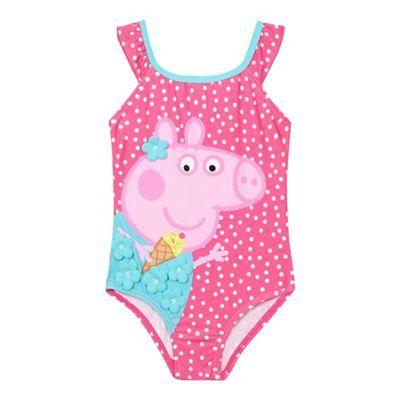 Peppa Pig Girls' pink 'Peppa Pig' print swimsuit | Debenhams
