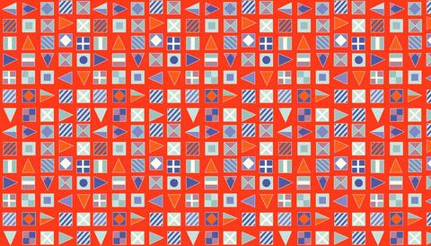 Nautical - Flags in Red by Makower Designer:  Henley Studios for Makower Range:   Nautical Print:   $5.00/lm #nautical #fabric #sailortheme