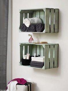 DIY shelves made of wooden boxes for the bathroom   – Wohnen