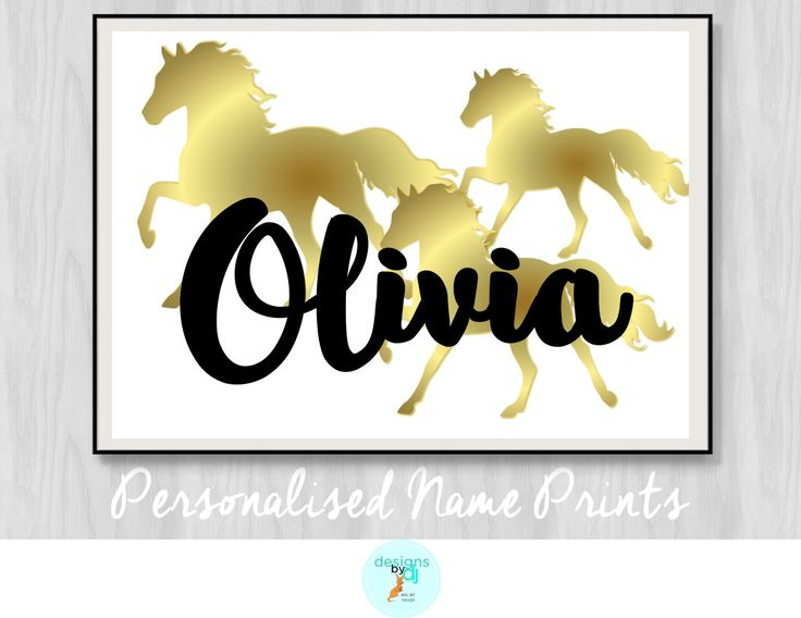 Girls Gold Horses Name Print Bedroom Decor Personalised Wall Art, Horse Prints, Gold, A5 A4 A3 by DesignsByDjKidsArt on Etsy