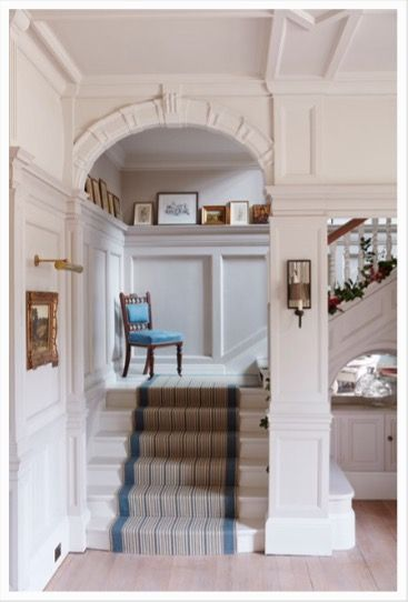 Emma Sims Hilditch. We also spoke of houses that flow. An option for the entrance hall if you did go for stone or wood is the use of a runner, which could bring interest when wallpaper is possibly not the best option ( when little fingers come into play) A colour that ties in with both the sitting room and kitchen would be great