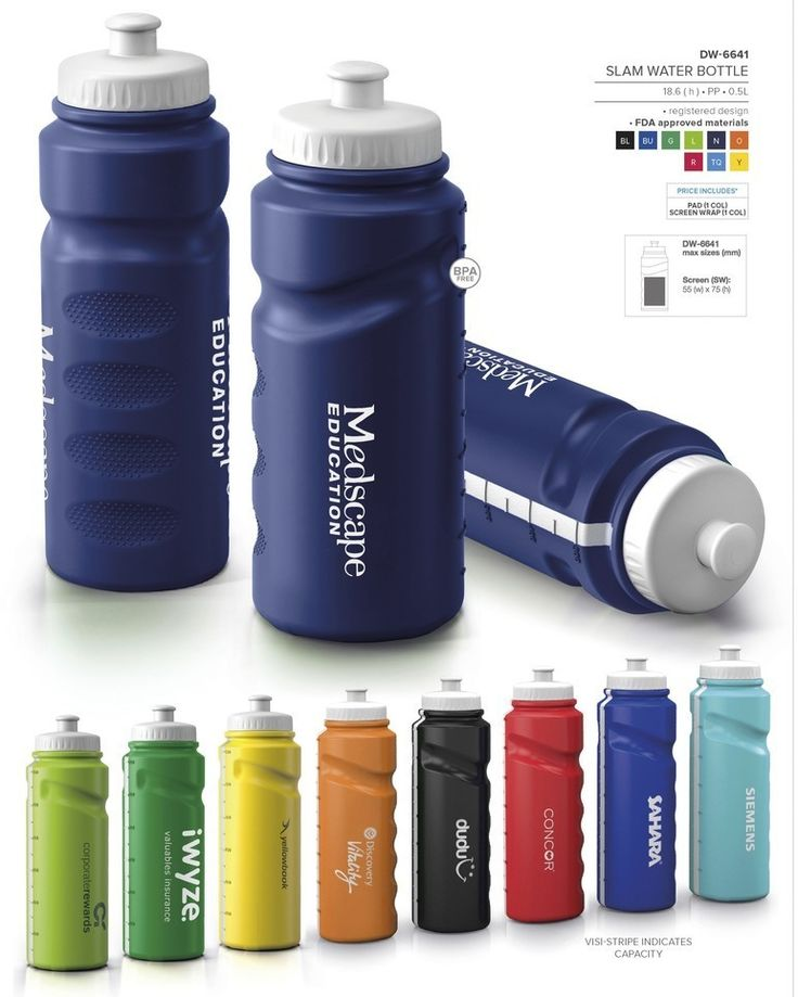 Slam Water Bottle - 500ml Slam Water Bottle - free branding offered by Best Branding No minimum order qty: Best Branding setup applies. Available in 9 vibrant colours, manufactured locally allowing short replenishing times. Awesome white visi -stripe indicating capacity. Push-pull spout and wide screw-lid for easy cleaning, filling. BPA free. Custom colours available on request. MOQ 5 000 pieces. FDA approved materials. BPA free. 500ml.