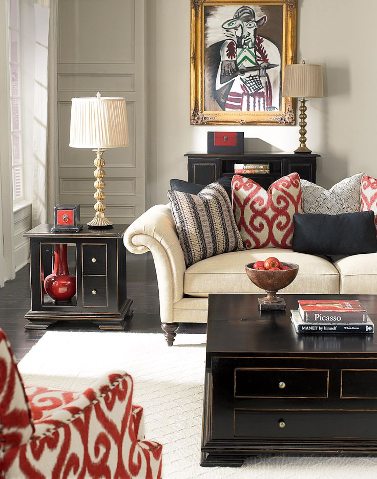 Love the color combo: beige, black and red.
