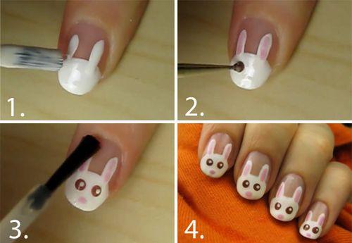 Deze schattige konijntjes kan je in 4 stappen op je nagels zetten! Echt heel leuk!
