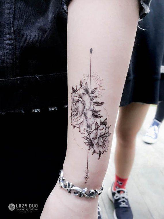 Alchemy tattoo Flash Rose tattoo Long Lasting Temporary tattoos Flower tattoo Stickers Minimal tatto