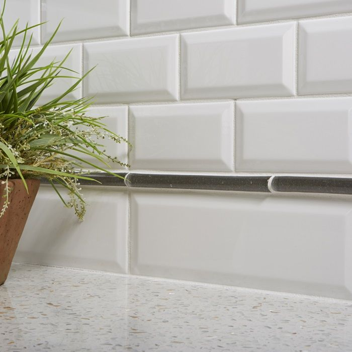 Ceramic Subway Tile Kitchen Backsplash: Bevel Subway Ceramic Tile