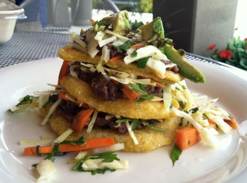 Mexican Sopes Recipe with Refried Black Beans and Spicy Cabbage Slaw [Vegan]