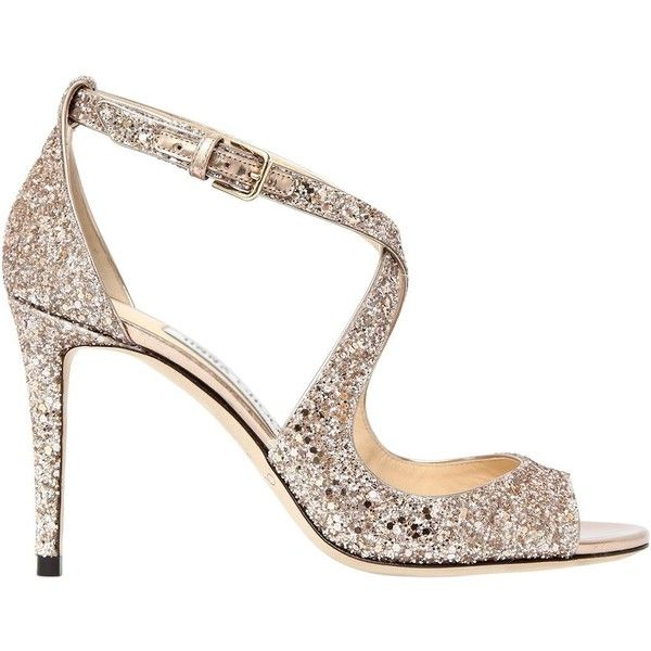 Jimmy Choo Women 85mm Emily Glittered Sandals ($760) ❤ liked on Polyvore featuring shoes, sandals, blush, glitter high heel shoes, glitter sandals, jimmy choo shoes, leather sole shoes and jimmy choo