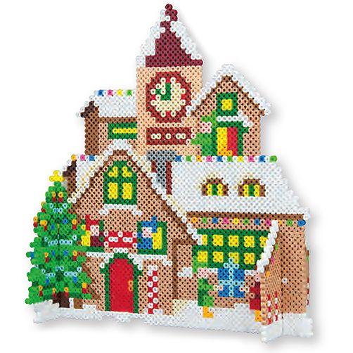Kerst - Knutselen met kinderen - Kerstdorp strijkkralen - Ook patroon voor kerstbomen en zuurstok - peiler.com