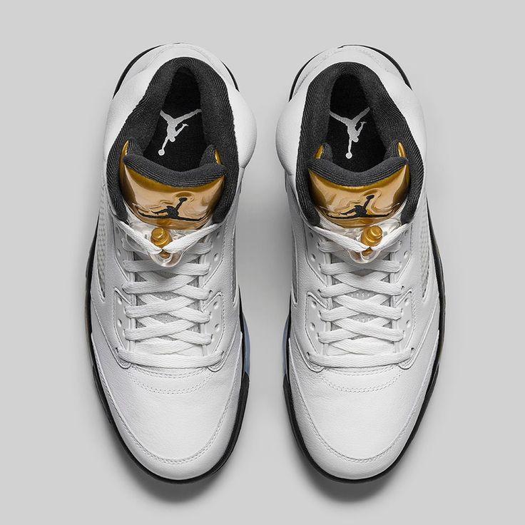 reputable site e85e8 499f4 nueva moda hombres oro blanco negro zapatos air jordan 1 the dunk from  above today 26n165  air jordan 5 retro gold tongue (release date official  pics