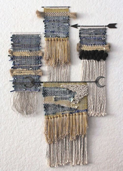 """Weaving ideas to also use my bronze,metal """"Leftover"""" rods as hangers"""