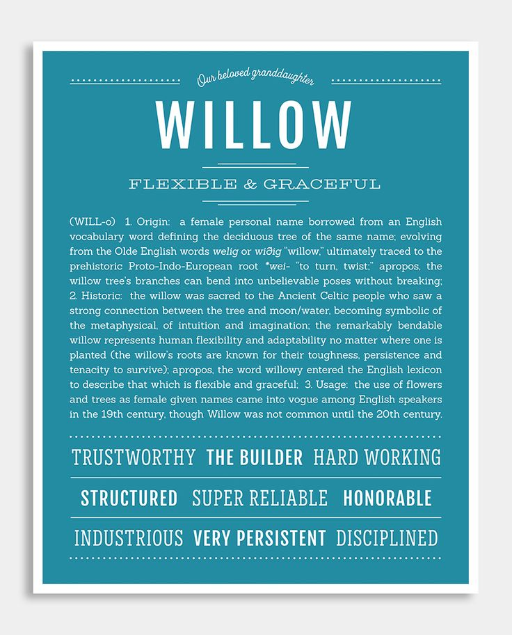 Willow | Classic Name Print | Classic names, Names with ...
