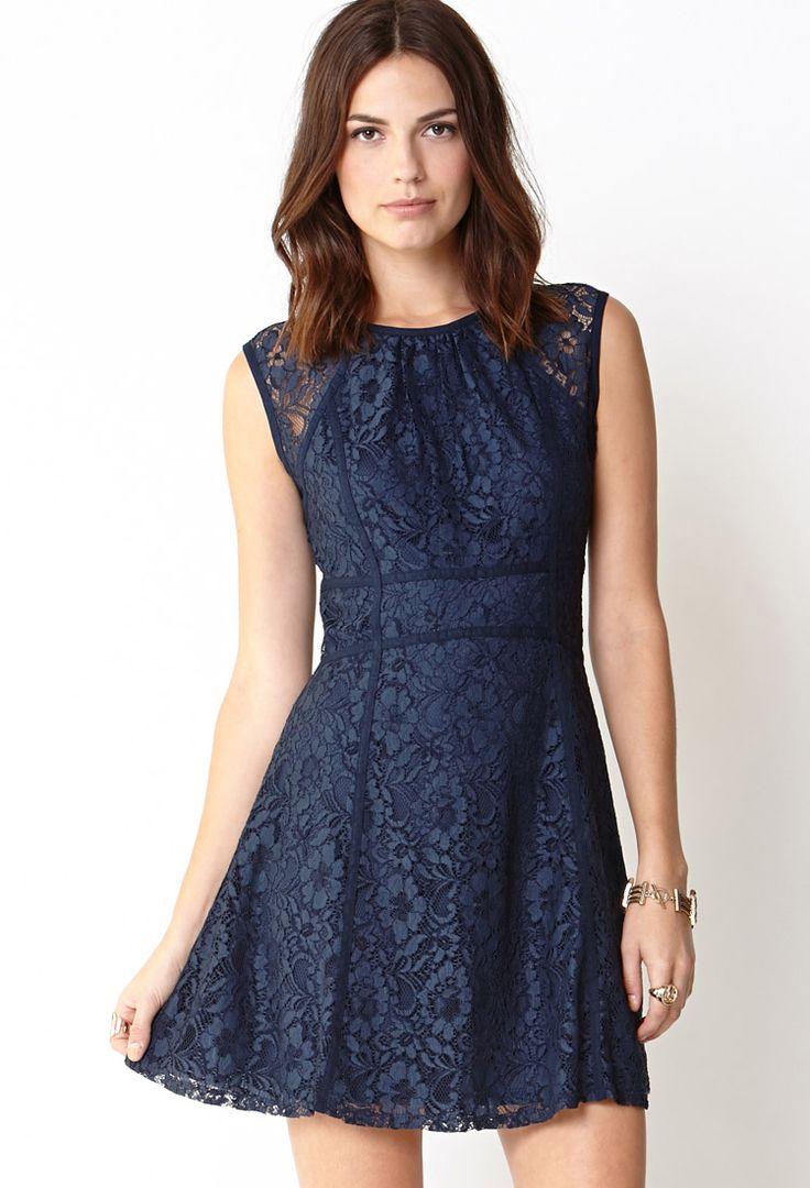 Robe Coupe Droite En Jean Navy Lace Dressesfl Dressshort Dresses21st