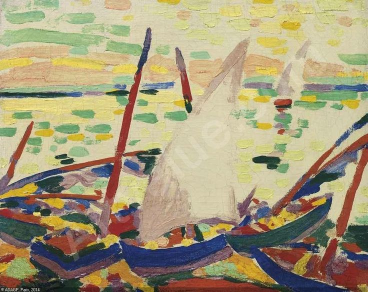 André Derain - Bateaux sur la plage à Collioure, 1905. Oil on canvas, 7½ x 9¼ in. (19 x 23.5 cm.). @ Christie's New York. Sold for 2,266,500 USD