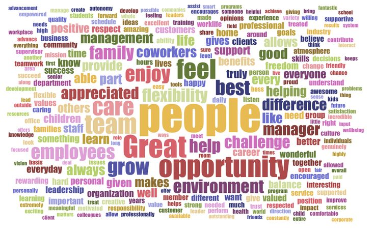 """""""Wordcloud: Answers from the """"I love my job"""" survey 