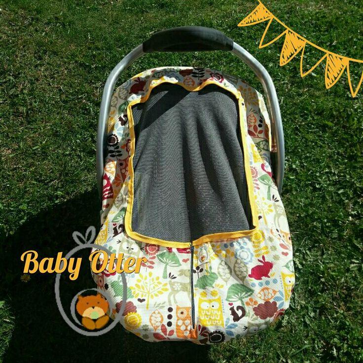 cubrehuevito de verano.  Protege a tu bebé del sol, mosquitos y viento!!  Modelo M, Diseño Bosque. Adaptables a casi todos los huevitos del mercado.  Respirable. Lavable. Personalizable.