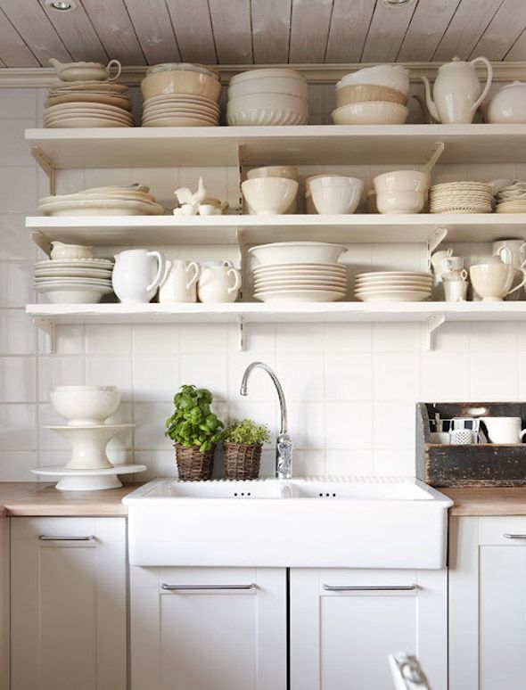 A Fireclay Apron Sink Open Shelves And A V Groove Ceiling Give A Kitchen A More Farmhouse Country Feel The Shelves Of White Dishes Are Just Gorgeous
