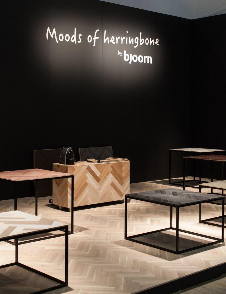 Moods of herringbone by Bjoorn Bjoorn at Stockholm Furniture & Light Fair 2016.  We showed Bjoorn Woodfiber's launch collection in a traditional herringbone pattern in our booth. Photo: Tomas Klinta