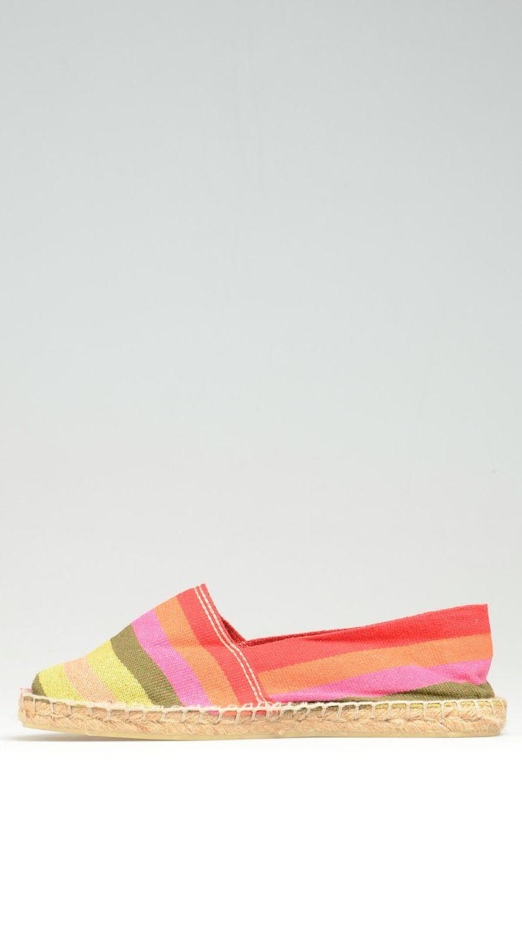 Multicolour canvas espadrillas featuring stripe pattern, rubber sole and juta rope detail on the platform,