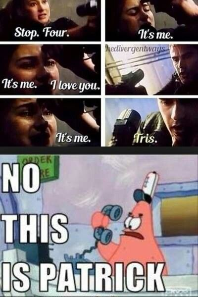 I think Patrick, Tris, and Four/Tobias is an awesome love triangle. Except I hate love triangles, so nevamind.
