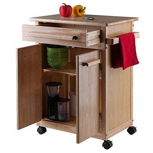Rolling Kitchen Cart Islands Natural Wood Butcher Block Portable Counter Cabinet #RollingKitchenCartIslandsNatural