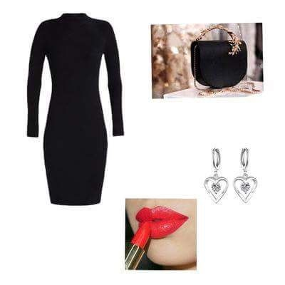 Elegant styling designed for Valentine's day. Styling: Kasia Kasia What do you think? #Valentinesday #sexy #elegant #małaczarna #bag #lips #dress #clotify #outfit #necklace