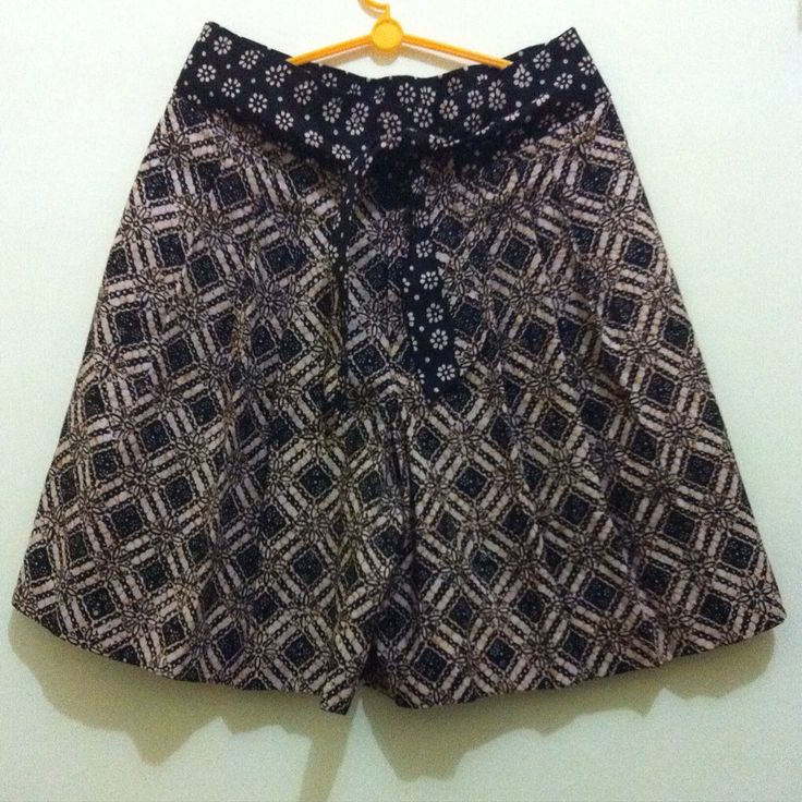 Pleat culotte from handstamped batik