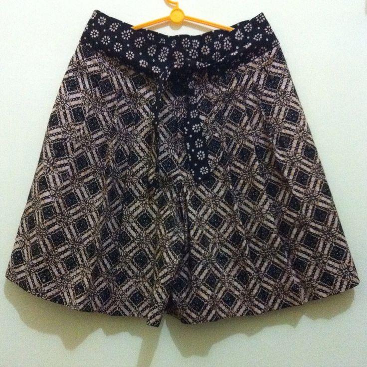 Pleat culotte from handstamped batik