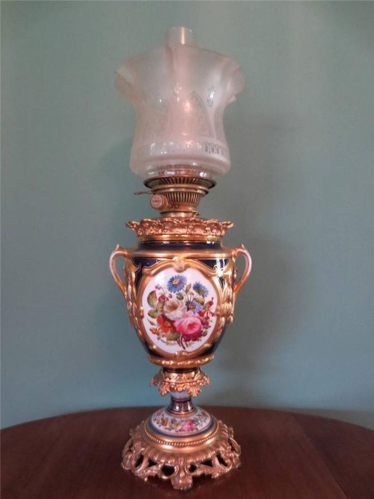 ANTIQUE VICTORIAN (1870) HINKS GILT & CERAMIC OIL LAMP WITH ETCHED GLASS SHADE in Antiques, Antique Furniture, Lamps | eBay