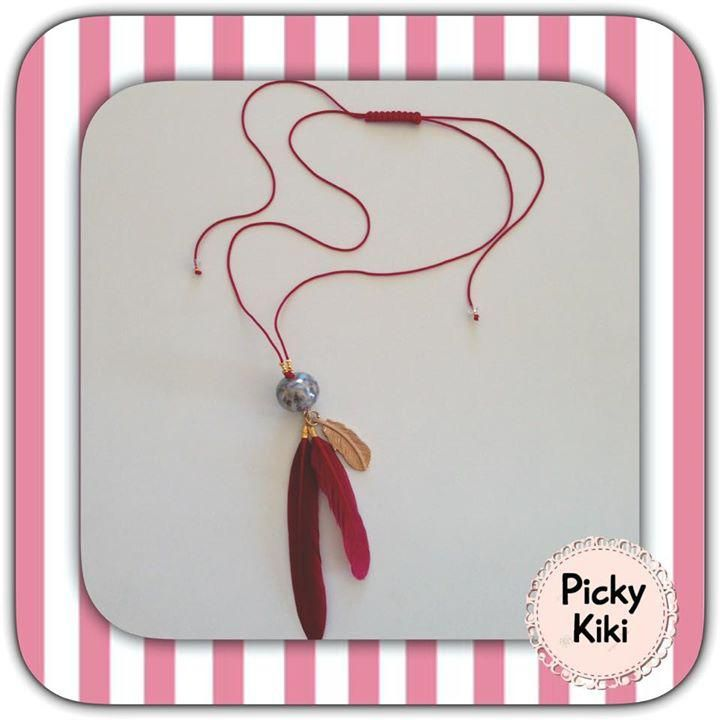 Long necklace with adjustable clasp with knitting macrame, gray porcelain bead, burgundy feathers and gold feather element   Fall-Winter Collection 2015 - '16   Picky Kiki Accessories