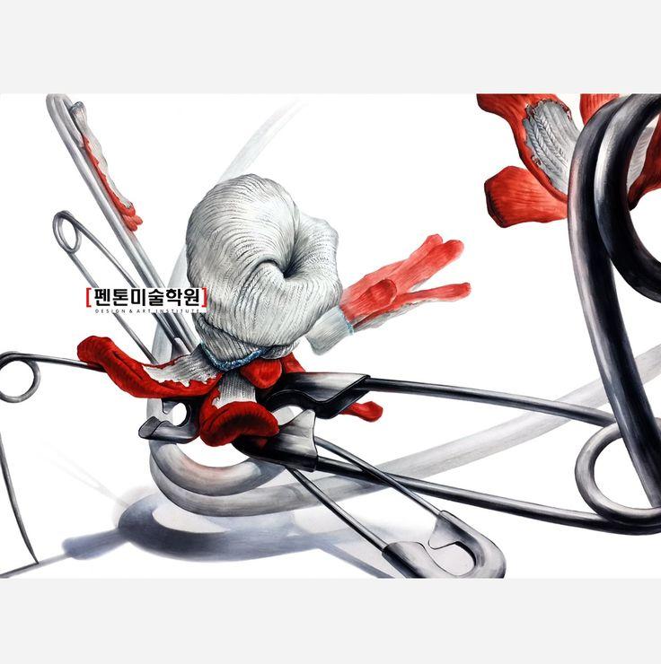 기초디자인 완성작/반코팅 목장갑,옷핀 화면구성 (실기의 펜톤) 펜톤미술학원