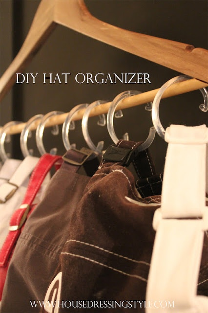 TOTALLY Doing this!!!!! As many hats as I own?!?    DIY Hat Organizer via House Dressing Style. Perfect trick to manage all my baseball caps!