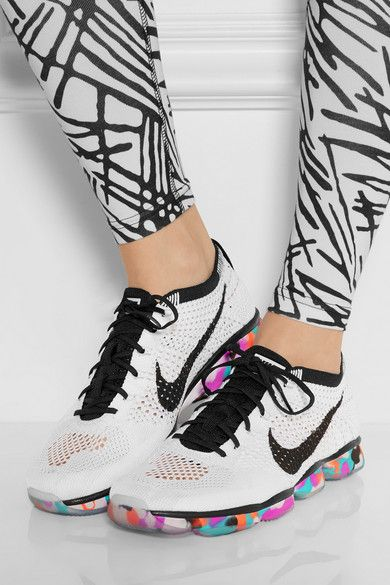 Sole measures approximately 30mm/ 1 inch White and black mesh Lace-up front Imported