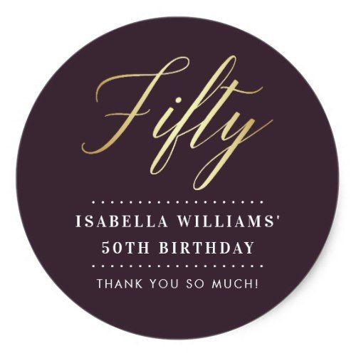 Simple Elegance | Gold Fiftieth Birthday Thank You Classic Round Sticker