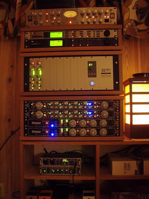 Interestingly simple/inexpensive - Studio Racks in Home Recording Studio | Flickr - Photo Sharing!