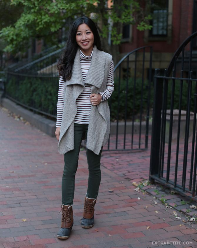 sweater vest sorel boots outfit