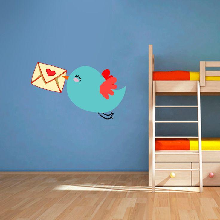 Muursticker Bird mail | Vrolijk die ene saaie muur op met een muursticker! Gemaakt van vinyl en gemakkelijk aan te brengen. Bekijk snel onze collectie! #muur #sticker #muursticker #slaapkamer #interieur #woonkamer #kamer #vinyl #eenvoudig #voordelig #goedkoop #makkelijk #diy #vogel #dier #schattig #vogeltje #meisjeskamer #kinderkamer #brief