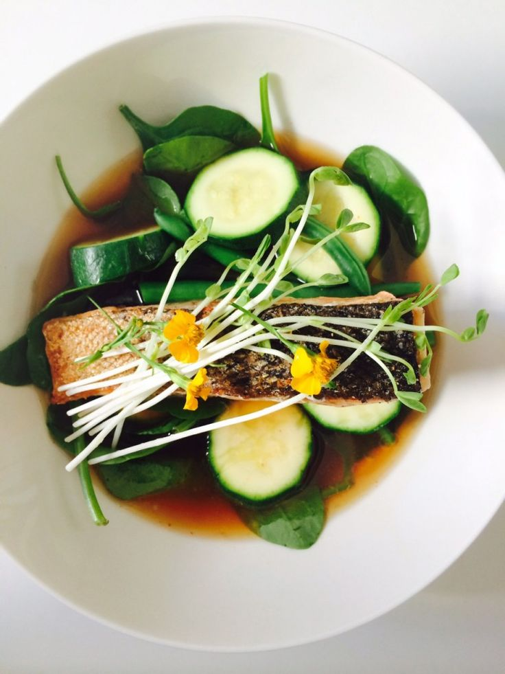 CRISPY SKIN SALMON W/ HOT & SOUR BROTH - This is basically my take on a Tom Yum soup. This soup is extremely fresh, light and packed with flavor. Traditionally it would be served with tomatoes, mushrooms and chicken, which is absolutely delicious. I've made this version with crispy skin salmon and greens.  #cookdinewine #foodblog #recipe #salmon #broth