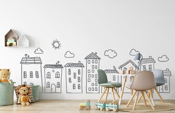 Doodle City Wall Art Decals For Kids Room Playroom Preschool Etsy In 2020 Decal Wall Art Kid Room Decor Baby Nursery Wall Art