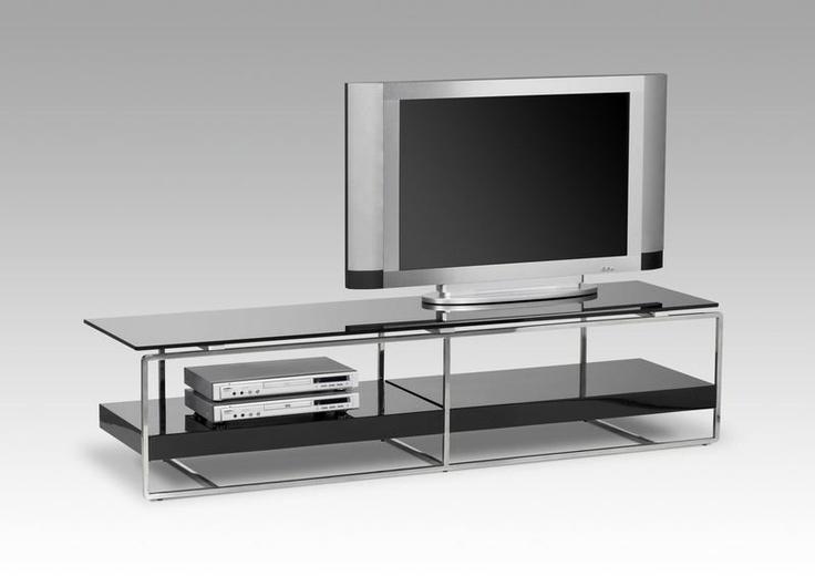 Meuble tv design  en bois MDF laqué noir brillant et en aluminium