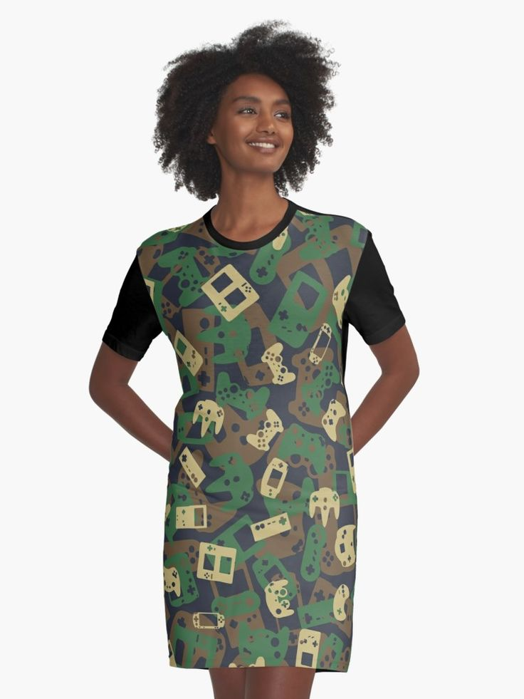 'Gamer Camo WOODLAND' Graphic T-Shirt Dress by GrandeDuc