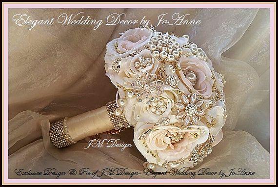 Ramo de boda de oro rosa y rosa oro rosa por Elegantweddingdecor