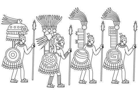 Aztec Warriors Coloring page