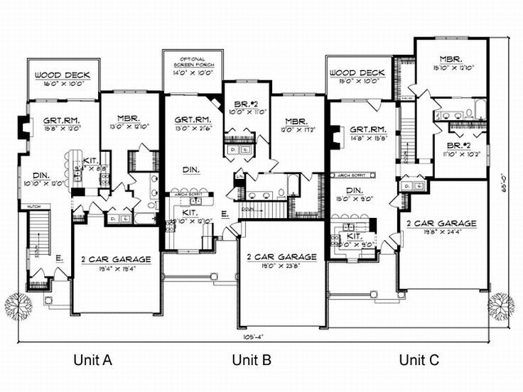 17 best images about multi family plans on pinterest for Multi family plans for narrow lots