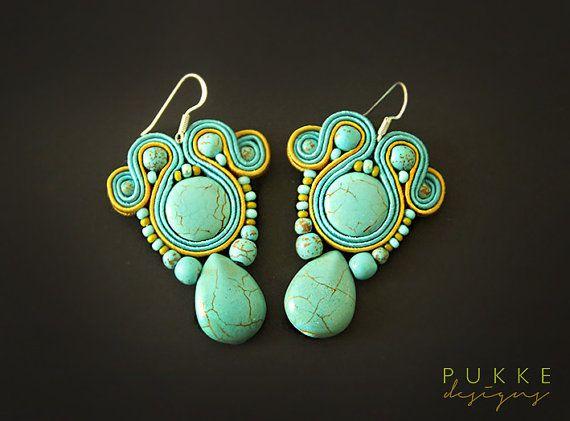 Blue elegant soutache earrings by pUkke on Etsy, €24.00
